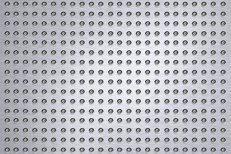 solidity: Rivets on brushed steel background.