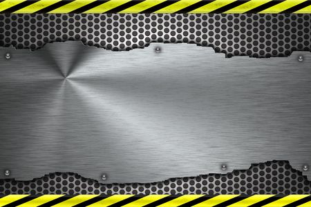 Rivets in brushed steel background. Yellow and black construction border Stock Photo - 7158251