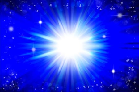 Stars on bright abstract blue background photo