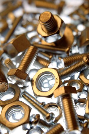 metal fastener: Chrome nuts and bolts close-up