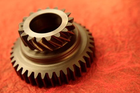 Close-up of one steel gear photo