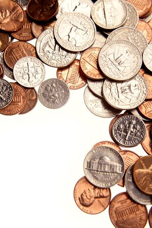 Closeup of assorted American coins  Stock Photo - 7404495