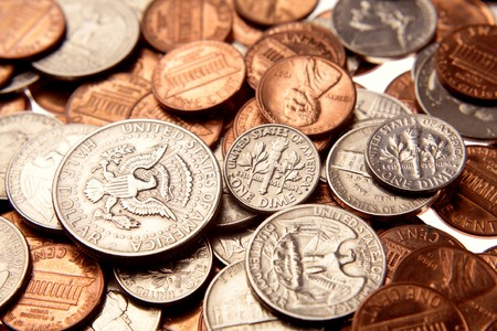 Closeup of assorted American coins Stock Photo - 7404491