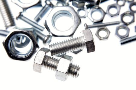 Chrome nuts and bolts close-up Stock Photo - 7404525