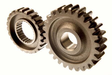 interlink: Two cogs connecting over white