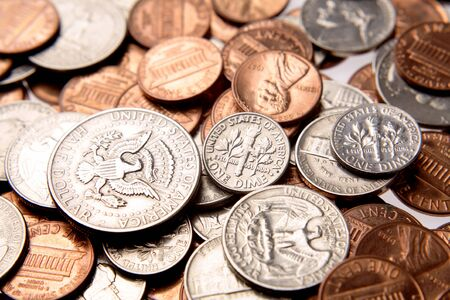 Closeup of assorted American coins  photo