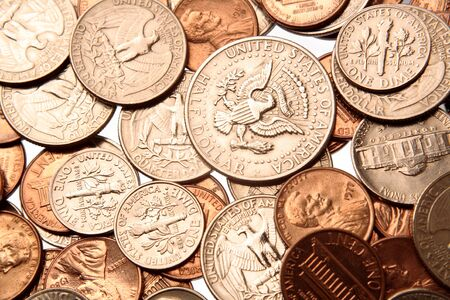 Closeup of assorted American coins  Stock Photo - 7516539