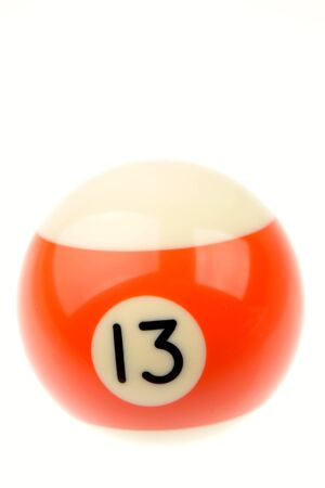 thirteen: Pool ball isolated over white background  Stock Photo