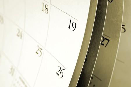 almanak: Close-up van nummers op pagina agenda