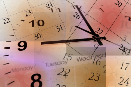 time of the year: Clock face and calendars on color background