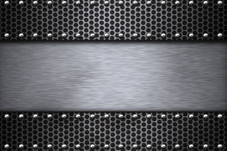 riveted: Grill pattern riveted to brushed steel background.  Stock Photo