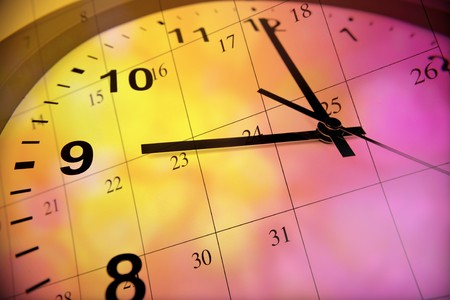 time of the day: Clock face and calendar on color background