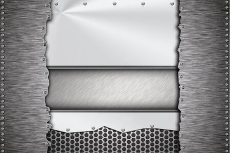 riveted: Brushed steel plates riveted together Stock Photo
