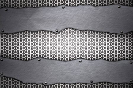 acier bross�?: Plaques d'acier bross� rivet�es sur fond grill Banque d'images