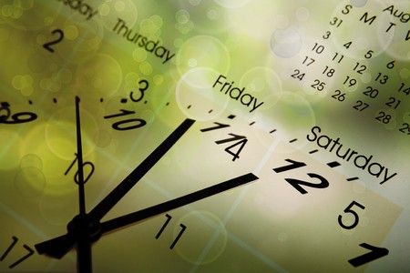 monthly: Clock face and calendar on color background