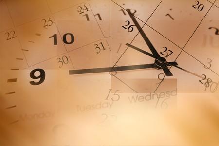 deadline: Clock face and calendar composite Stock Photo