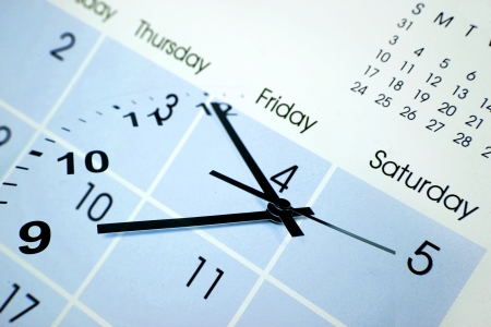 organizer: Clock face and calendar composite Stock Photo