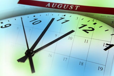 Clock face and calendar on color background Stock Photo - 7617489