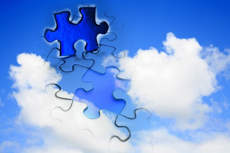 successful strategy: Jigsaw puzzle in blue sky