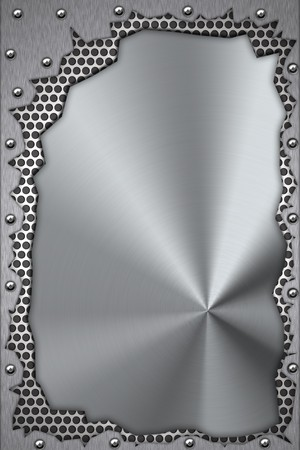 metal textures: Metal pieces riveted to brushed steel background.  Stock Photo