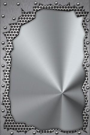 acier bross�?: Pi�ces m�talliques rivet�es en acier bross� en t�che de fond.