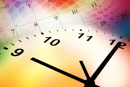 Clock face and calendar on color background photo