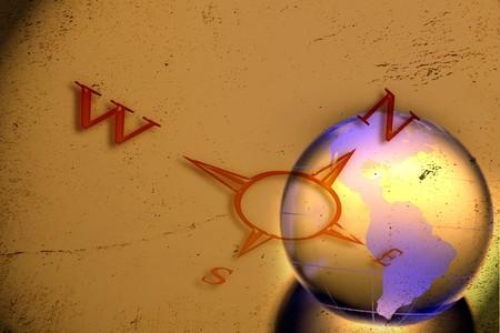 Puntos cardinales y Am�ricas en globo  Foto de archivo - 7658007