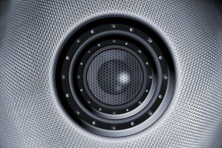 sub woofer: Single loud speaker in grill  Stock Photo