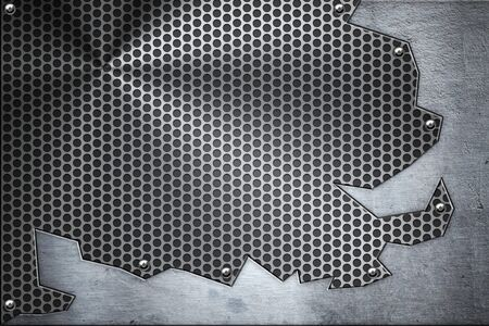 riveted: Brushed steel plate riveted to grill background