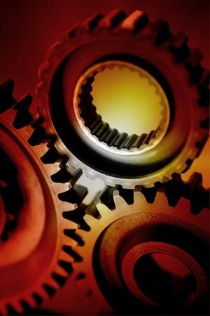 Closeup of three metal gears Stock Photo - 7658028