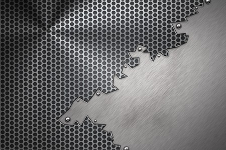 solidity: Brushed steel plate riveted to grill background
