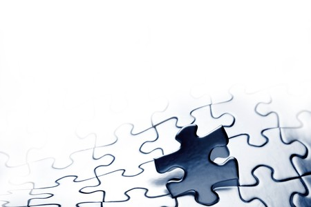 missing link: Piece of jigsaw puzzle. Copy space