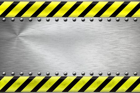 panel: Construction borders and rivets on textured steel background