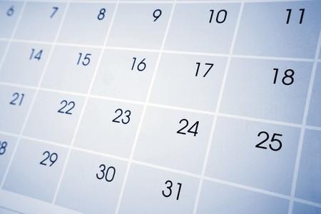 almanak: Close-up van nummers op de kalender pagina  Stockfoto