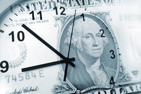 banknotes: Clock and banknote. Time is money concept  Stock Photo