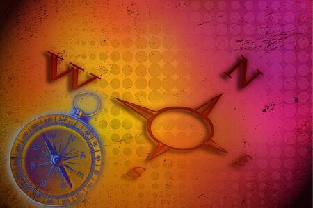 puntos cardinales: Puntos cardinales y br�jula en fondo multicolor Foto de archivo