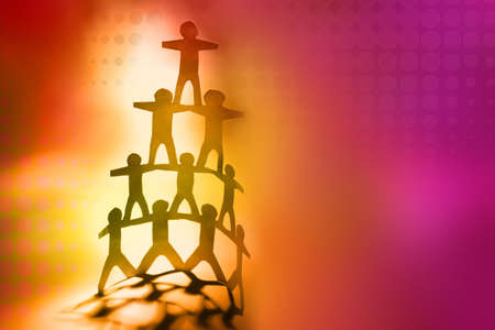 Human team pyramid on color background photo