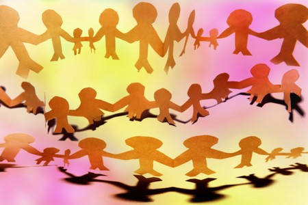 Paper-chain people holding hands  photo