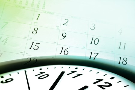 annual event: Clock face and calendar on color background