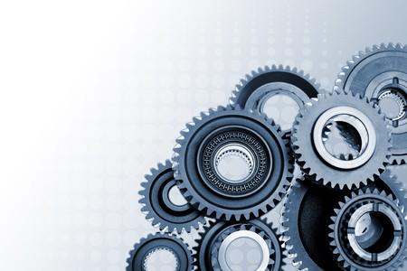 Metales gears sobre fondo degradado. Copiar el espacio