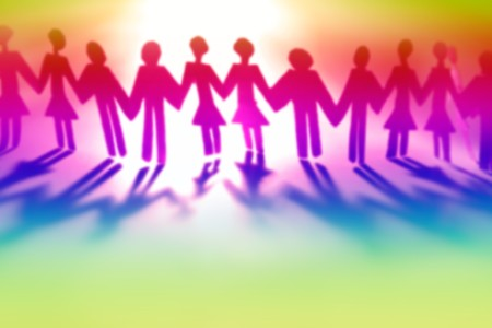 Colorful people holding hands together  photo