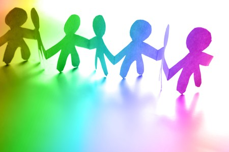 Colorful people holding hands together Stock Photo - 7733424