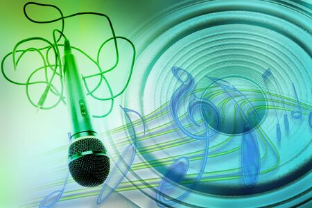 Loud speaker, microphone and music notes Stock Photo - 7733433