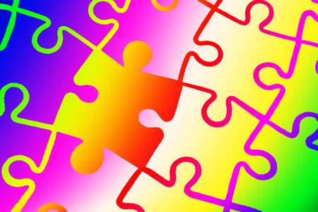 Colorful complete jigsaw puzzle pattern Stock Photo - 7733425
