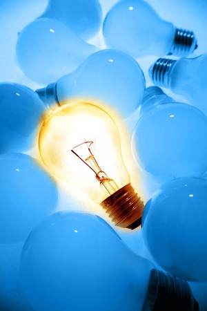 standing out from the crowd: One bright bulb in crowd