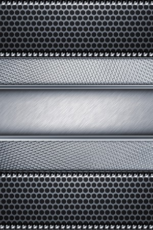 alloy: Grill pattern riveted to brushed steel background
