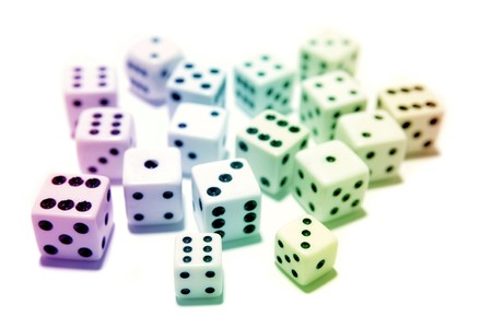 Assorted colorful dice on white Stock Photo - 7733459