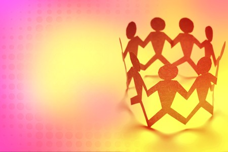 Group of people holding hands in a circle photo