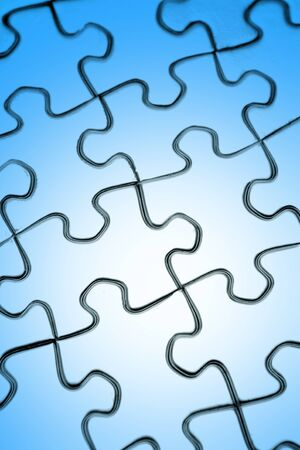 Closeup of complete jigsaw puzzle  photo
