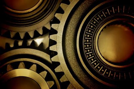 tandwielen: Close-up van drie metalen tand wielen